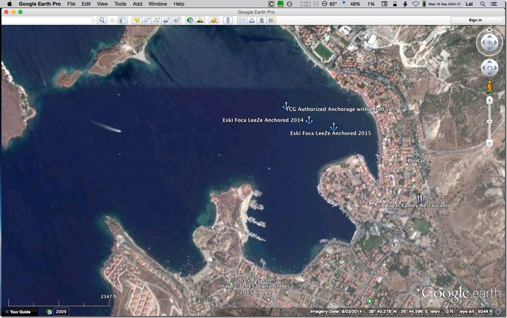 Diesel Duck Trawler LeeZe in Çandarli > Anchorages in Eski Foça