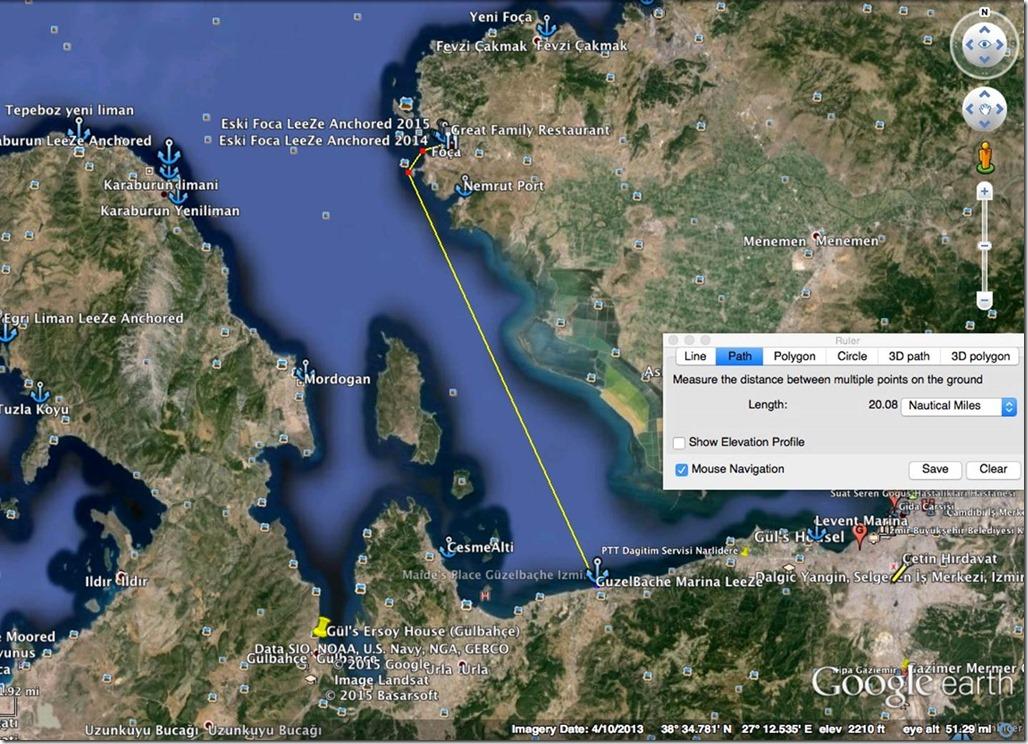 Diesel Duck Trawler LeeZe in Çandarli > Anchorages in Güzelbaçhe's Marina